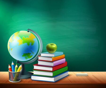 Back to school background with books pencils pot globe on table in classroom realistic vector illustration Ilustração