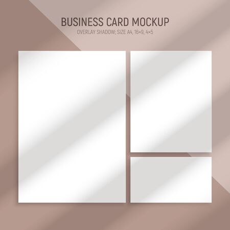 Realistic window light and shadow set of business cards with blank rectangular mockups and shade stripes vector illustration