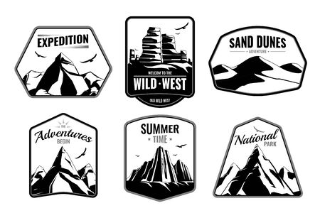Mountains rocks emblems monochrome flat collection with isolated frame shapes editable text and dark silhouette images vector illustration