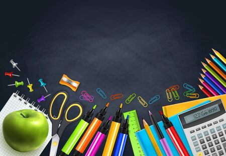Back to school realistic background with markers notebooks calculator apple ruler on chalk board vector illustration