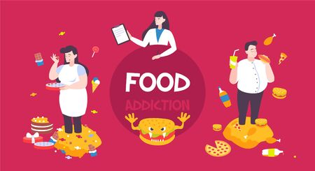 Food addiction flat background with female doctor and fat people eating burgers pizza chocolate cake vector illustration