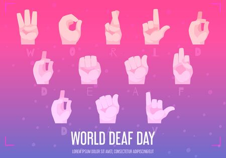 World deaf day poster with hand alphabet symbols flat  vector illustration