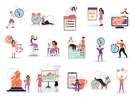 Time management tasks projects planning setting priorities teamwork cooperation  schedule relaxation flat compositions set isolated vector illustration Stockfoto - 129244474