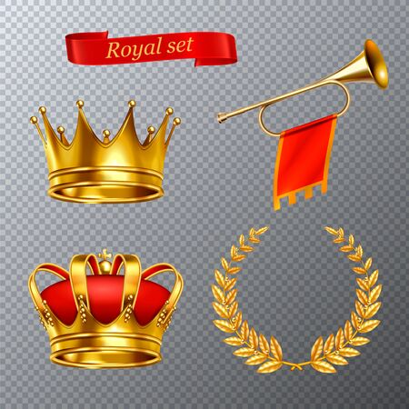 Royal realistic set of king crowns  laurel wreath  trumpet with flag isolated on transparent background vector illustration