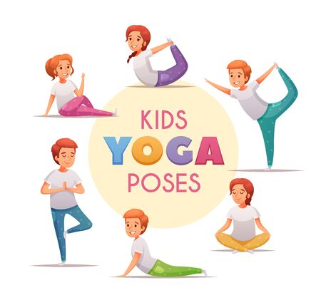 Kids yoga concept with yoga poses for boys and girls symbols cartoon  vector illustration