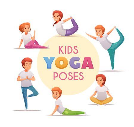 Kinder Yoga-Konzept mit Yoga-Posen für Jungen und Mädchen Symbole Cartoon-Vektor-Illustration Vektorgrafik