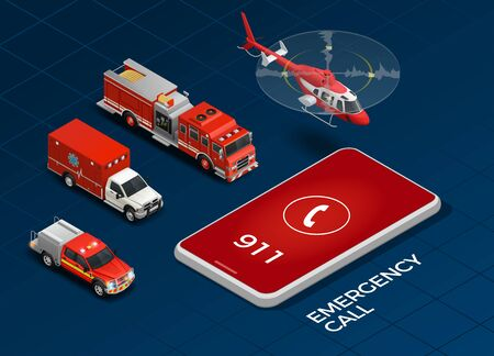 Emergency call and transport with helicopter ambulance fire engine isometric set isolated on blue background 3d vector illustration Illustration