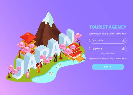 Japan asia custom journey creator tourists guide online travel agency isometric landing web page design vector illustration
