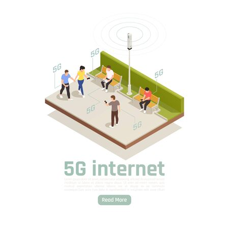 Modern internet 5g communication technology isometric composition with outdoor view of people using fast web connection vector illustration