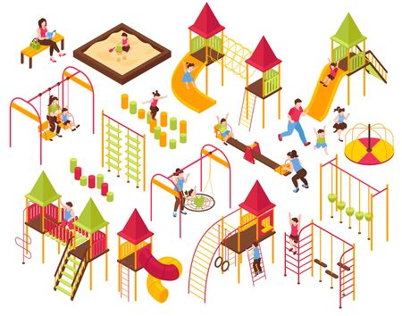 Isometric kids playground parents kids set with isolated images of seesaws ladders carousels on blank background vector illustration