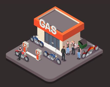 Isometric composition with colorful motorbikes and group of male bikers standing near gas station on black background 3d vector illustration 向量圖像