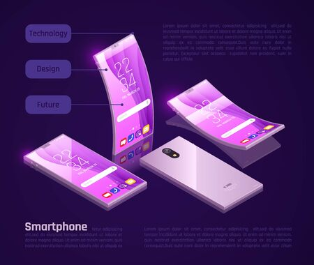 Innovative foldable gadgets screens keyboards compact for storage great for travel isometric smartphones promotion poster vector illustration Illustration