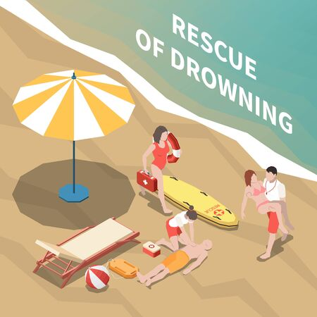 Lifeguards saving drowning people and providing medical assistance on beach 3d isometric vector illustration