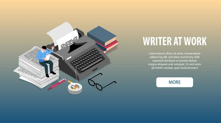 Writer at work attributes accessories tools isometric horizontal web banner with  books typewriter glasses pen vector illustration