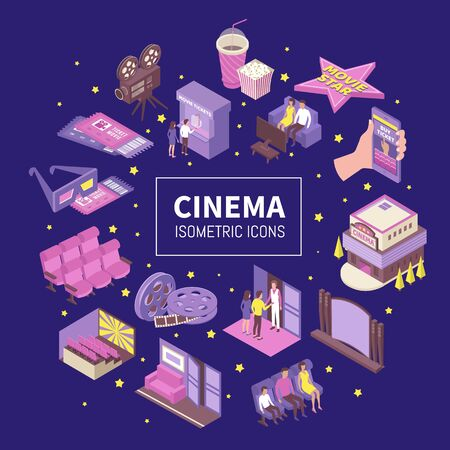 Movie theater home cinema picture house isometric icons compositions with tickets 3d glasses bobbin popcorn vector illustration