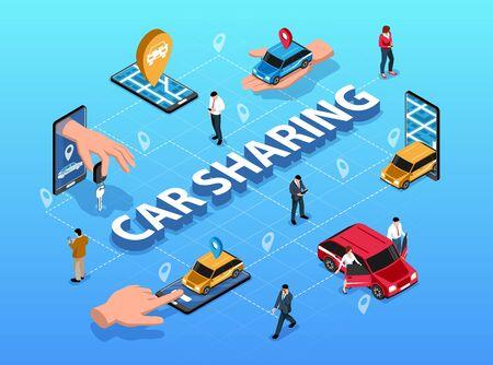 Car sharing location based service via smartphone application isometric flowchart scheme with handing key symbol vector illustration  Illustration