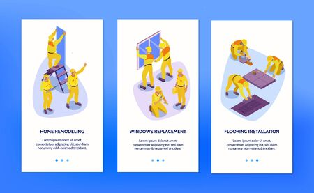 Isometric set of three vertical banners with home repair service workers isolated on blue background 3d vector illustration