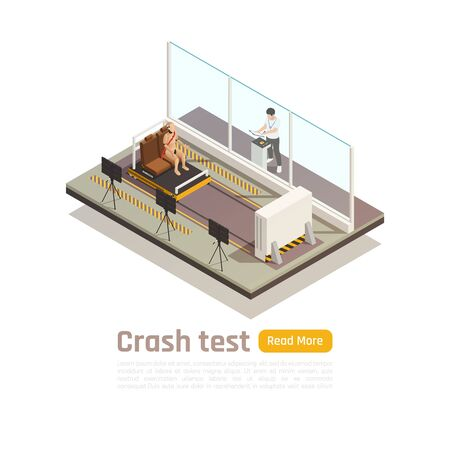 Crash test car safety isometric composition with read more button text and testing room units images vector illustration