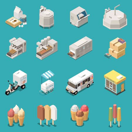 Ice cream production isometric set with manufacture equipment kinds of dessert delivery transport street cart isolated icons vector illustration 矢量图像