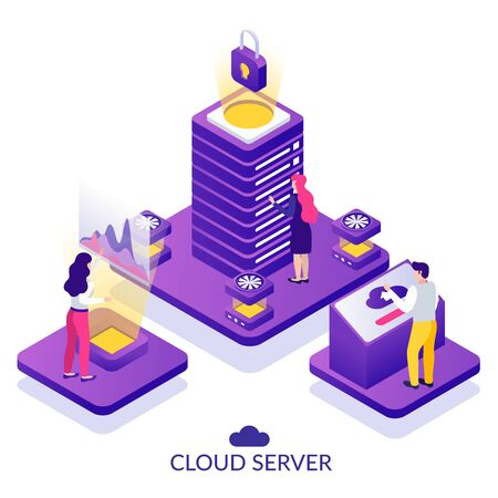 Datacenter secure cloud server service isometric composition with analytics virtually accessing data storage white background vector illustration