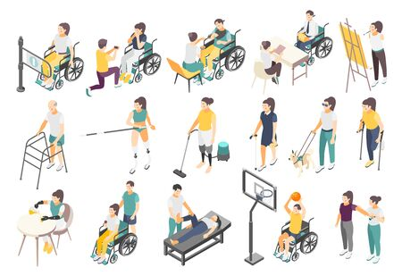 Disabled people isometric icons with active invalids overcoming difficulties in everyday life volunteer and helpers vector illustration