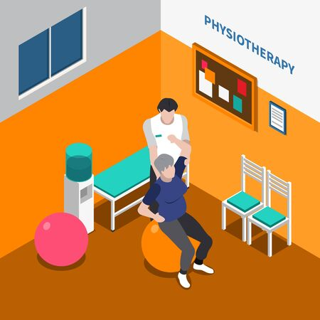 Physiotherapy rehabilitation isometric poster with physiotherapist showing physical exercises to patient using auxiliary tools vector illustration