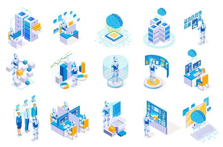 Robotic process automation isometric icons collection with isolated images of robots working with futuristic computer interfaces vector illustration