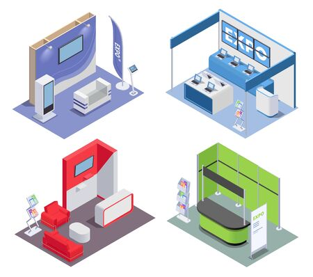 Isometric 2x2 design concept with empty expo stands in rooms for exhibition and promotion 3d isolated vector illustration