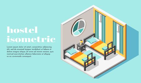 Hostel room interior for two guests isometric background with beds and bedside table vector illustration
