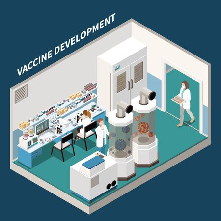 Vaccine development isometric background with scientists  engaged in scientific research and experiments in laboratory of experimental medicine vector illustration