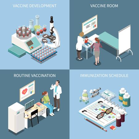 Vaccination 2x2 design concept set of vaccine development vaccine  room routine vaccination and  immunization schedule square icons isometric vector illustration Illustration