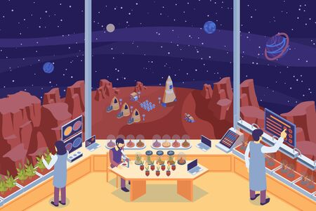 Colored isometric mars colonization laboratory composition with three scientists at the lab vector illustration Illustration