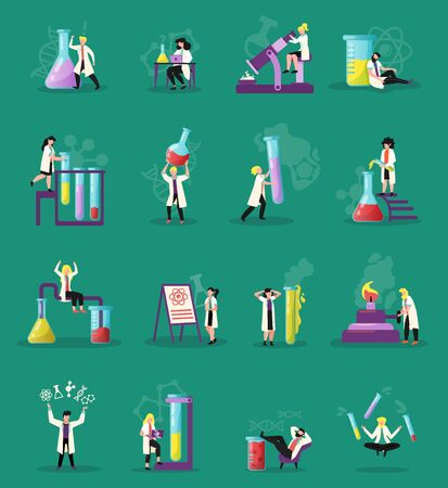 Science lab 16 lab research funny symbols flat icons set with retorts test tubes  microscope vector illustration Çizim