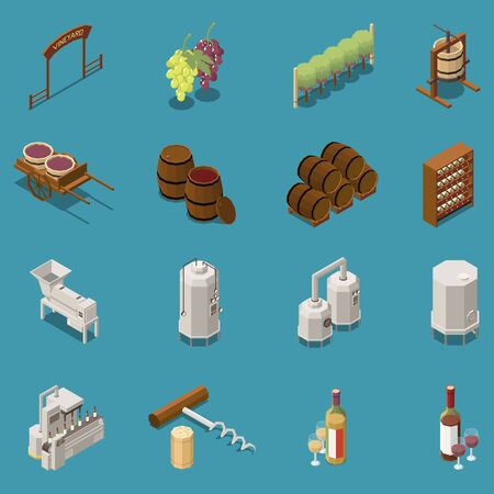 Wine production isometric icons set with winery equipment barrel grape bunches corkscrew isolated on blue background 3d vector illustration Illustration