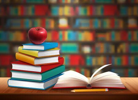 Ritorno a scuola sfondo con libri matita e mela sul tavolo nell'illustrazione realistica di vettore della biblioteca