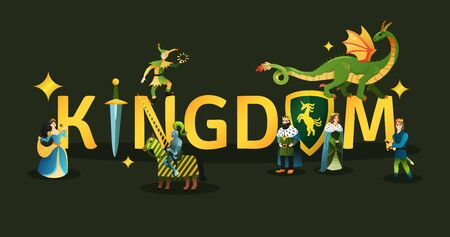 Medieval kingdom golden lettering decorated with king queen dragon fairy tale characters title heading black background vector illustration Stockfoto - 129244627