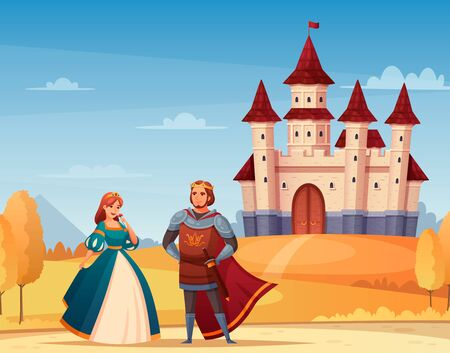 Medieval characters cartoon background with castle king and queen vector illustration