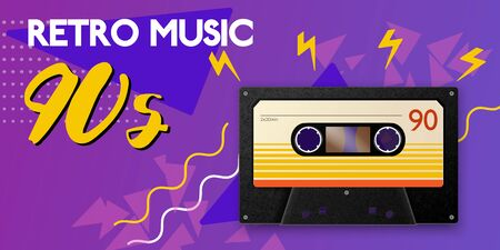 Realistic vintage music horizontal poster composition with image of cassette 90s silhouette shapes and editable text vector illustration Illustration