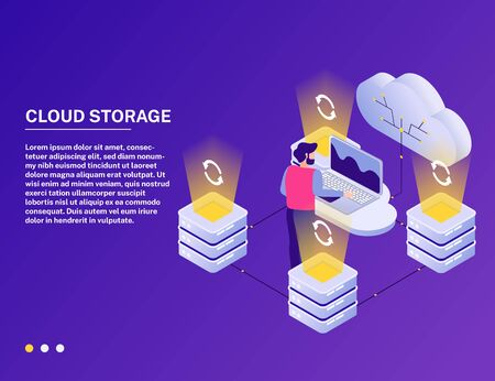 Datacenter online cloud service isometric composition with analytic accessing data storage against vibrant purple background vector illustration Foto de archivo - 129244736
