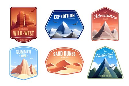 Mountains rocks landscapes emblems flat set with sand dunes national parks and expedition peaks editable text vector illustration Illusztráció