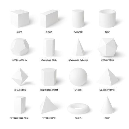 Basic 3d shapes realistic white set of cylinder sphere cone cube tube  tetrahedron isolated on white background vector illustration