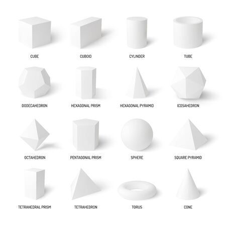 Basic 3d shapes realistic white set of cylinder sphere cone cube tube  tetrahedron isolated on white background vector illustration