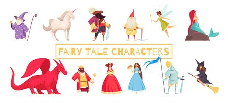 Fairy tale characters set with unicorn and wizard flat isolated vector illustration Ilustracja