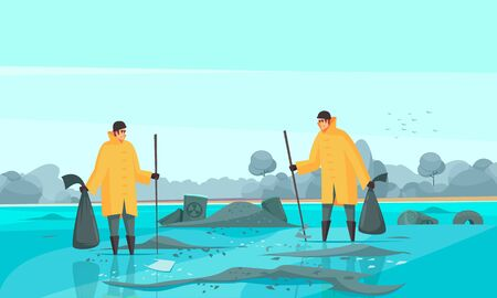 Nature water pollution composition with flat doodle characters of toxic waste collectors in dirty water scenery vector illustration Ilustrace