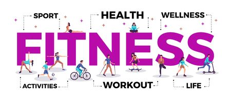 Fitness-Schriftzug Titelkopf aktiver Lebensstil Werbung horizontale Komposition mit Menschen, die Workout-Yoga-Sport-Vektor-Illustration praktizieren
