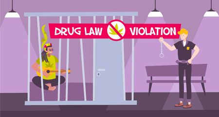 Criminal penalty cannabis composition with drug law violation description and junkie in jail vector illustration Illustration