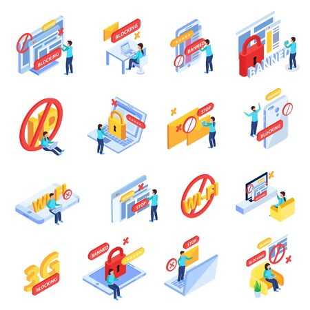 Blocking internet sites users online social networks members ip addresses symbols isometric icons collection isolated vector illustration