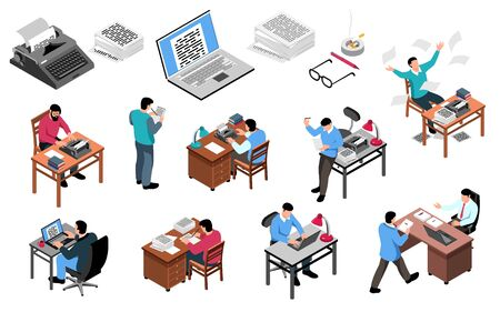 Writer at work isometric icons set with creative process workplace attributes typewriter laptop publisher office  isometric illustration Stock Illustratie