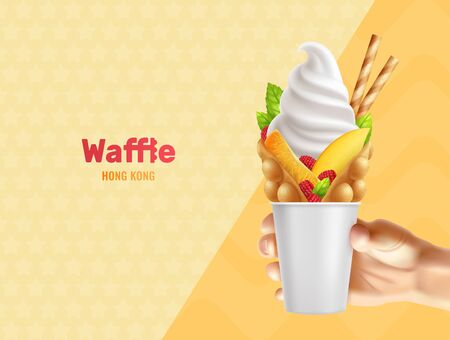 Bubble hong kong waffle in hand realistic composition with editable text and human hand holding can vector illustration Banque d'images - 128969228