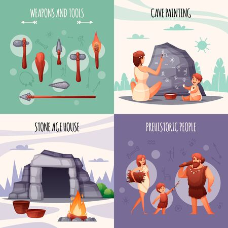 Prehistoric stone age people concept 4 flat compositions with caveman family tools weapons cave painting vector illustration Illustration